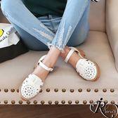 韓系時尚花樣造型扣環圓頭包鞋/4色/35-39碼 (RX0010-9331) iRurus 路絲時尚