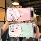 三星 A80 手機殼 鋼化玻璃 創意 卡通 可愛 小豬豬 超萌 情侶 閨蜜 個性 防摔 全包 防刮 保護殼 玻璃