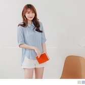 《AB15027-》質感條紋收腰前短後長襯衫/上衣 OB嚴選