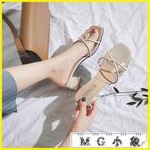 粗跟鞋 粗跟韓版百搭一字拖時尚跟鞋外穿