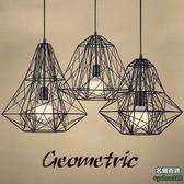 不二413美式 鑽石鐵架吊燈 實木鐵藝工業風簡約復古燈