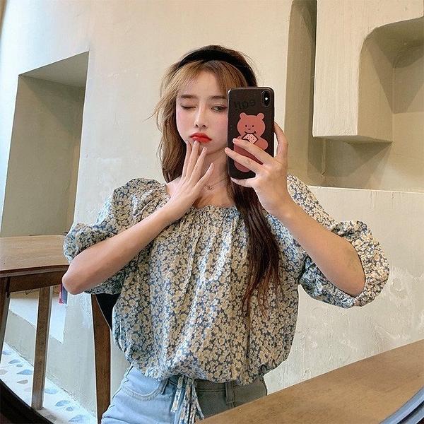 NiCELIFE 韓系 碎花【C1816】抽繩 一字領 短袖 短版 襯衫 中袖 上衣 女 短版襯衫