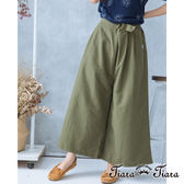 【Tiara Tiara】腰綁帶單色長寬褲(綠/卡其)