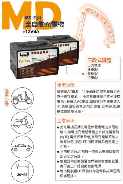 三段式自動充電器 MD1206 全自動電瓶充電 (適用汽車機車12V電瓶電池用)