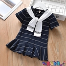 兒童連身裙 童裝連身裙2021新款女童韓版短袖夏季時尚條紋休閒舒適兒童帥氣裙 618狂歡