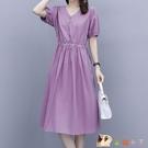 純色棉麻連身裙女2020新款夏季氣質收腰顯瘦遮肚子紫色裙子中長款 KP2690快出【花貓女王】