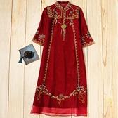 婚禮媽媽禮服高貴洋氣時尚中國風刺繡寬鬆中長款大碼新娘敬酒服7 幸福第一站