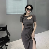 緊身洋裝 設計感不規則緊身抽繩洋裝女夏2021新款大碼收腰顯瘦開叉包臀裙【快速出貨】
