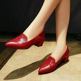 低跟單鞋女2018新款韓版淺口尖頭女鞋粗跟高跟鞋百搭工作鞋小皮鞋『韓女王』