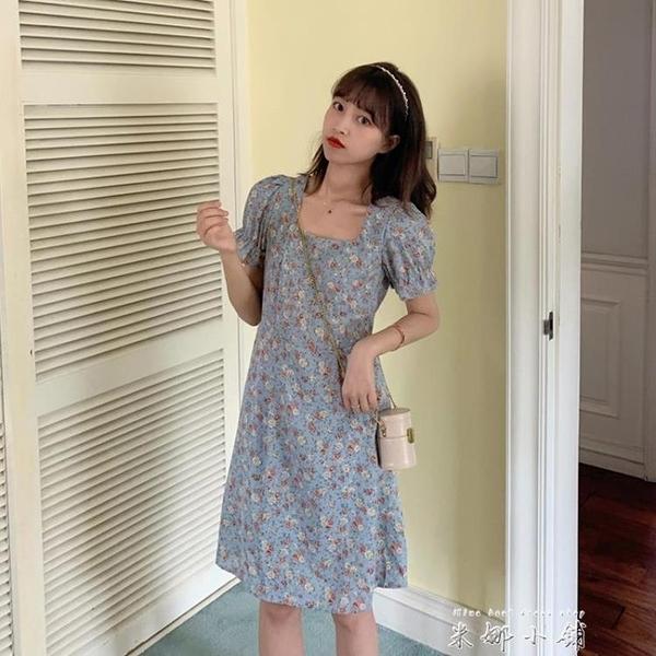 春款2020年新款藍色碎花洋裝女夏季法式方領氣質泡泡袖裙子 米娜小鋪