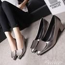 夏季女鞋方扣中高跟粗跟低跟尖頭淺口工作2020新款韓版百搭單鞋子 黛尼時尚精品