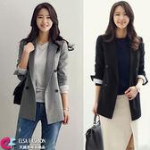 西裝外套 OL必備優雅雙排釦西裝外套 艾爾莎【TGK5463】