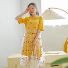 連身裙 兩件式印花網紗短袖洋裝RE5120-創翊韓都