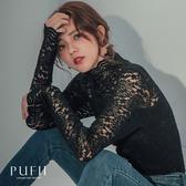 現貨◆PUFII-上衣 高領彈性厚蕾絲上衣-1128 冬【CP17632】