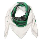 HERMES Brides De Gala Brode馬鞍圖騰真絲披肩方型絲巾(祖母綠)179165