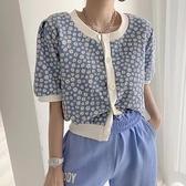 短袖針織上衣 T恤韓系夏裝韓國chic 甜美小雛菊圓領寬松泡泡袖短款針織開衫上衣女T619紅粉佳人