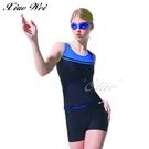 ◇小薇的店◇梅林品牌【黑底藍色拼接印字】大女二件式泳裝特價890元NO.M0471(M-XL)