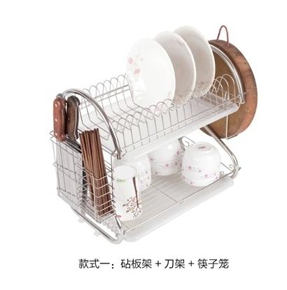 304不銹鋼 雙層碗架 碗碟架 廚房置物架【款式一:砧板架+刀架+筷子籠】
