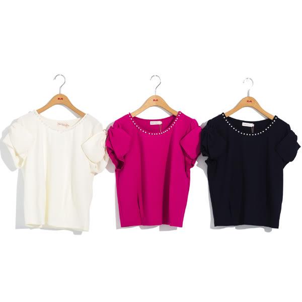 單一優惠價[H2O]蝴蝶結裝飾袖領口縫珠針織上衣 - 藍/白/桃紅色 #8671002