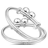 寶寶銀手鐲999純銀鐲子龍鳳嬰兒童男女小孩銀飾手環足銀滿月套裝 居享優品