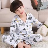兒童睡衣男童冬秋季薄款長袖小孩男孩子純棉套裝中大童卡通家居服 晴天時尚館