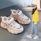 女童運動鞋波浪底網面老爹鞋2020春新款兒童鞋透氣時尚男童休閒鞋-完美