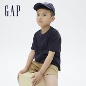 Gap男童 厚磅密織系列碳素軟磨 純棉短袖T恤 755463-海軍藍