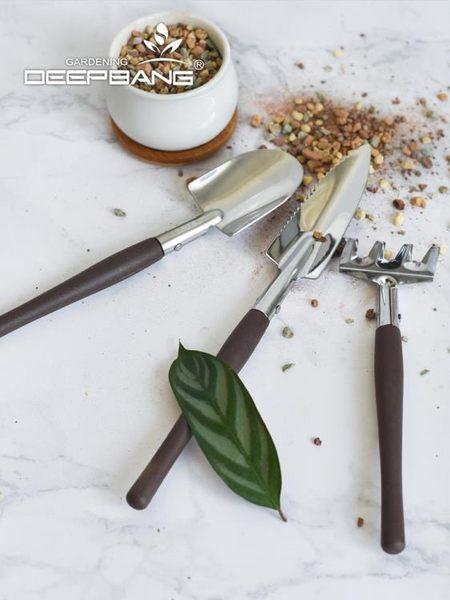 深邦 不銹鋼園藝工具三件套 加固型釘耙鍬 種花工具套裝迷你鏟子
