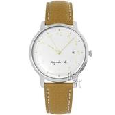 【台南 時代鐘錶 agnes b.】優雅法式人文 BG8007X1@VJ32-KZD0J 手寫風簡約時尚手錶 皮帶 淺棕 37mm