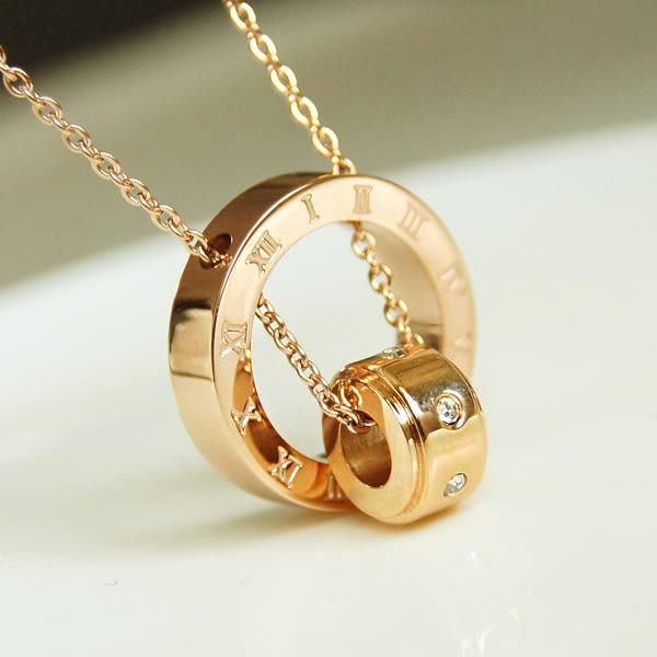 star 鈦鋼系列-玫瑰金 戒指短款鎖骨鏈-生日情人節禮物-B52