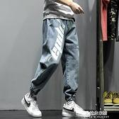 秋季牛仔褲男士潮牌胖子加肥大碼褲子休閒長褲直筒寬鬆束腳工裝褲