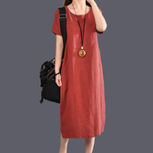 夏款女裝韓版寬鬆大碼中長款顯瘦棉麻洋裝藏肉減齡休閒百搭女裙 美芭