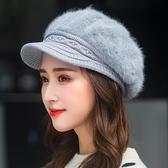 帽子女秋冬天加絨加厚護耳保暖帽貝雷帽鴨舌針織帽兔毛帽 - 風尚3C