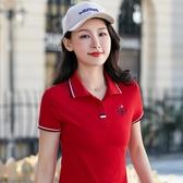 翻領polo 大尺碼polo 翻領短袖t恤女裝夏季2020新款潮大碼有領上衣寬鬆體恤運動Polo衫