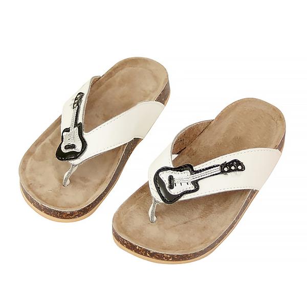 【Jingle】天才吉他手夾腳軟木涼鞋(清新白兒童款)