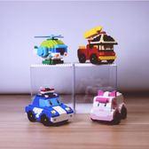 兒童益智積木警車救護車消防車飛機海拼接【聚寶屋】