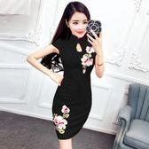 短款刺繡旗袍連衣裙改良修身顯瘦禮服LJ3865『miss洛羽』
