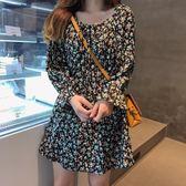 復古碎花方領雪紡連身裙女秋季新款收腰顯瘦長袖短裙