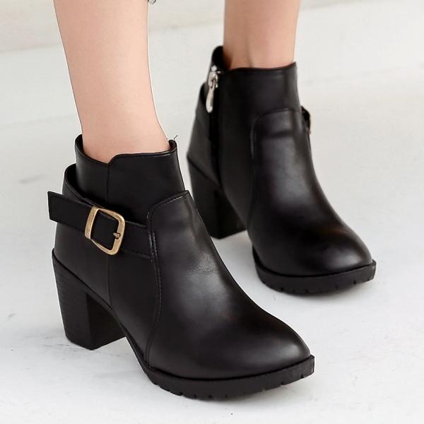 靴子.訂製款.MIT韓版扣環側拉鍊粗跟短靴.白鳥麗子