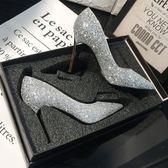 水晶新娘婚鞋女2018新款伴娘婚紗鞋細跟高跟鞋女尖頭亮片銀色單鞋【全館免運店鋪有優惠】