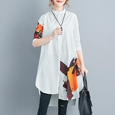 休閒寬鬆 不規則A字五分袖2020夏季新款上衣棉麻印花立領寬松大碼女裝襯衫