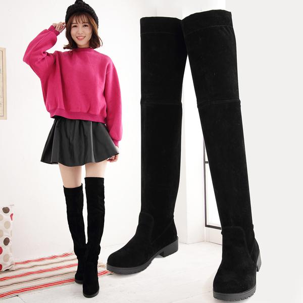 長靴  時尚顯瘦絨布低跟膝上長靴  香榭
