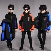 兒童外套 男童沖鋒衣中大童三合一可拆卸兒童棉服加絨冬裝加厚外套 快速出貨