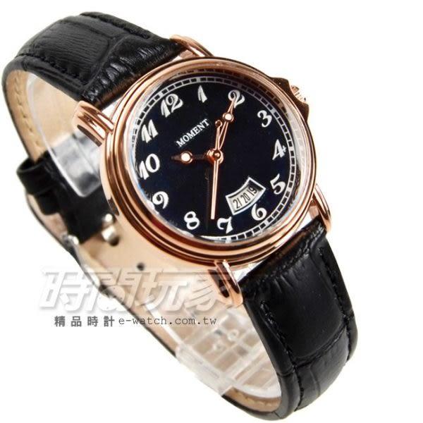 MOMENT 古典時刻 數字錶 玫瑰金x黑色 真皮錶帶 女錶 防水手錶 MO8073玫黑小