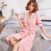 睡袍女夏季純棉短袖中長款可愛粉色浴袍女士全棉薄款睡衣日式浴衣 名稱家居館