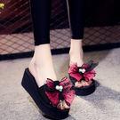 韓版夏季涼拖鞋女外穿高跟一字拖蝴蝶結防滑坡跟鬆糕厚底沙灘鞋女 米娜小鋪