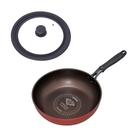 IRIS鑽石塗層IH不沾炒鍋 28cm+耐熱矽膠萬用鍋蓋灰24/26/28cm