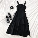 吊帶裙 不規則新款裙子設計感小黑裙禦姐風黑色吊帶連衣裙長裙秋季 - 古梵希