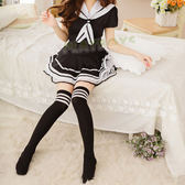 性感襪類 黑白條紋女學生中筒襪(女襪-大腿襪)日系原宿海軍風-玩伴網【隱密出貨】