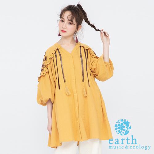 「Hot item」刺繡流蘇長版上衣 - earth music&ecology